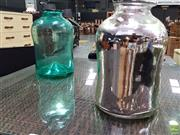 Sale 8629 - Lot 1013 - Two Large Handblown Glass Vases, one with a Silvered Interior