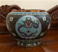 Sale 8735 - Lot 95 - A large cloisonne five claw dragon decorated jardiniere, H x 23cm, Diameter 32cm