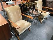 Sale 8859 - Lot 1024 - Pair of Art Deco Maple Framed Chairs