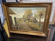 Sale 8914 - Lot 2043 - Theodore Dahl - Dutch Fishing Villageoil on canvas, 50 x 79cm signed