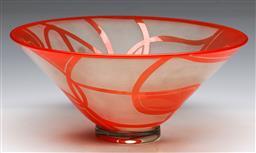 Sale 9148 - Lot 73 - A modernist wheel cut glass vase/table centrepiece, signed to base, (dia 25cm)