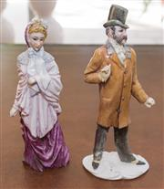 Sale 8341A - Lot 94 - A pair of Italian figures of a lady and gent, signed to base, H 21cm