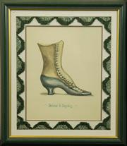 Sale 8575J - Lot 46 - A framed print of a French ladies boot with arch shaped bullion tassel border and painted frame, 62cm x 52cm including framing
