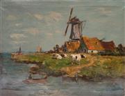 Sale 8599A - Lot 97 - Artist Unknown (Antique Dutch school) - River scene with cattle H 56 x W 76cm