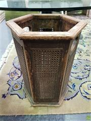 Sale 8629 - Lot 1018 - Early Oak and Cane Rattan Wastepaper Basket