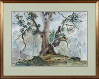 Sale 8735 - Lot 96 - Margaret Coen, The solitary Gum, watercolour, signed lower right, 52 x 72cm