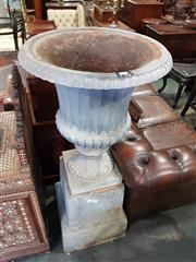 Sale 8814 - Lot 1084 - Cast Iron Campagna Form Urn, with fluted and reeded body, on stepped pedestal. Total height, 130cm