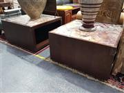 Sale 8826 - Lot 1077 - Pair of Marble Insert Top Occasional Tables (H: 51 W: 90cm2)