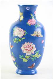Sale 8852 - Lot 60 - A Blue Field Chinese Vase with Butterfly Motif (H 19cm)