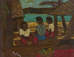 Sale 9087H - Lot 93 - Ray Crooke (1922 - 2015) - Island Scene 33 x 43.5 cm (frame: 55 x 65 x 3 cm)