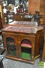 Sale 8335 - Lot 1005 - Early Victorian Rosewood Credenza, with carved mirror back & two arched pierced panel doors