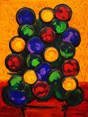 Sale 8652 - Lot 580 - Dean Vella (1958 - ) - Buds in Pot on Gold 61.5 x 46cm