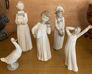 Sale 8510A - Lot 45 - Five Nao figures including girls and geese etc, the tallest H 31cm