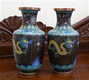 Sale 8735 - Lot 97 - A pair of cloisonne five claw dragon decorated baluster vases, Provenance Art of Man gallery. H x 32cm