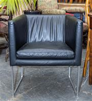Sale 8746 - Lot 1018 - Set of Eight B & B Italia Solo Black Leather Tub Chairs, designed by Antonio Citterio, on aluminium sleigh feet