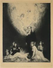 Sale 8916 - Lot 527 - Norman Lindsay (1879 - 1969) - C Sharp Minor Quartette 37.5 x 29.5 cm