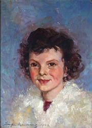 Sale 9013 - Lot 581 - Tempe Manning (1896 - 1960) - Portrait of a Girl in a White Coat, 1943 35 x 25 cm (frame: 47 x 38 x 3 cm)