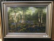 Sale 9072 - Lot 2010 - Artist Unknown (early C20th) Green Bushlands & Blue Wild Flowers oil on canvas ,frame: 52 x 69 cm, unsigned -