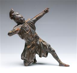 Sale 9093P - Lot 5 - Japanese Cast Iron Figure of an Archer (No Bow H: 27.5 cm)