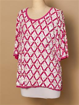 Sale 9093F - Lot 15 - A Diana Rego vintage sequinned pink and white top size 14/L