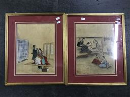 Sale 9113 - Lot 2055 - Pair of Oriental Paintings, frame size 50 x 41 cm (each)