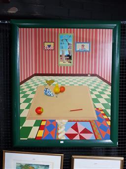 Sale 9127 - Lot 2038 - R. Sugden  Interior Scene, 1987 acrylic on board, frame: 105  x 90 cm, signed lower left