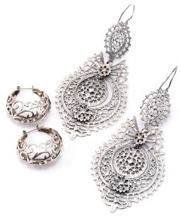 Sale 9149 - Lot 326 - TWO PAIRS OF SILVER EARRINGS; lace design long pierced articulated drops to locking shepherds hooks, length 96mm, others 13mm wide p...
