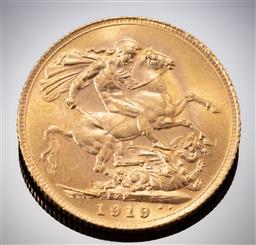 Sale 9153C - Lot 318 - 1919 AUSTRALIAN SOVEREIGN; King George V, Perth mint, 22ct gold, wt. 7.97g.