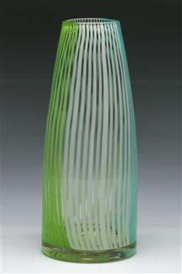 Sale 9148 - Lot 72 - A Venetian latticino glass cylinder vase (H:27cm)