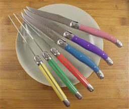 Sale 9240L - Lot 89 - 6-Piece Steak Knife Set - Multicolour - Laguiole by Andre Aubrac