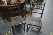 Sale 8337 - Lot 1034 - Set of Four French or Flemish Timber Framed Chairs with Pressed Leather Seats