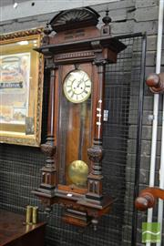 Sale 8500 - Lot 1063 - Late 19th Century German Walnut Wall Clock with Enamel Dial and Two Train Movement (top loose - two weights & winder in office)
