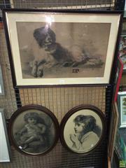 Sale 8622 - Lot 2167 - 3 Works: Frank Willshie - Girl; Girl Praying, signed, Pencil on Paper in Oval Frames & Dog, Pencil on Paper, SLR
