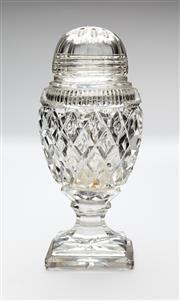 Sale 8651A - Lot 63 - A Georgian design hand cut lead crystal castor raised on a stepped square base. c. 1920s, H 15cm