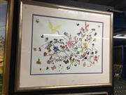 Sale 8674 - Lot 2062 - Bette Watson - Flowers & Butterflies, gouache, 111 x 83cm, signed lower right