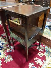 Sale 8774 - Lot 1049 - Small Georgian Mahogany Washstand, having a lower shelf fitted with a drawer, the legs joined by stretchers