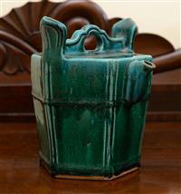 Sale 8735 - Lot 98 - A green glazed Chinese Shiwan teapot of hexagonal form, H 24cm