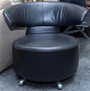 Sale 8746 - Lot 1021 - Pair of Black Leather Open Armchairs, on aluminium swivel base