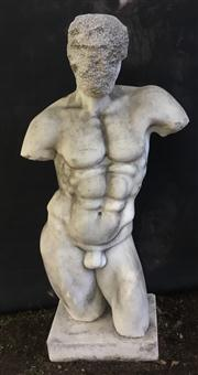 Sale 8772A - Lot 21 - An Early Carved Marble Nude Male Torso Statue, General Wear Some Chipping Natural Stone Crack Line Consists Of 2 Parts( Base And Bod...