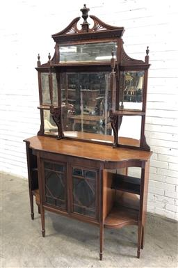 Sale 9142 - Lot 1071 - Edwardian Carved Walnut Parlour Cabinet, the high mirror back with shelves, above two astragal doors, flanked by open shelves & rais...