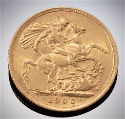 Sale 9153C - Lot 314 - 1906 AUSTRALIAN SOVEREIGN; King George V, Sydney mint, 22ct gold, wt. 7.97g.