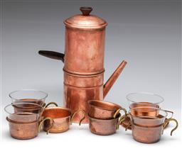 Sale 9173 - Lot 100 - A copper hot chocolate suite inc pot, and cups
