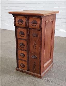 Sale 9191 - Lot 1053 - Early timber sewing cabinet (h70 x d44cm)