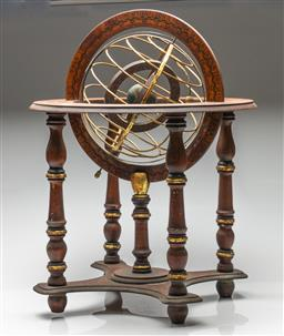 Sale 9211 - Lot 8 - A Timber Celestial Zodiac Globe on Stand (H:60cm)