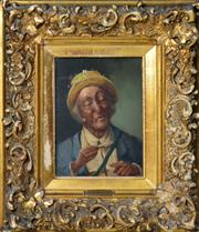 Sale 8575J - Lot 37 - V. Schaller (19th Century) - Portrait of an Elderly Gent 20 x 14.5cm