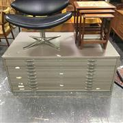 Sale 8643 - Lot 1008 - Metal 10 Drawer Map Chest
