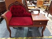 Sale 8680 - Lot 1098 - Fabric Upholstered Telephone Table with Ornately Carved Back