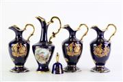 Sale 8860 - Lot 6 - Collection of Cobalt Blue Limoges Handled Jug Form Vases (Tallest H20cm, smallest H16cm) Together with a small Limoges Bell