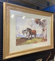 Sale 9011 - Lot 2023 - M Prouis, Ploughing the Field, watercolour, 71 x 93cm, signed lower right -