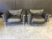 Sale 9039 - Lot 1042 - Pair of Le Corbusier LC3 Black Leather Armchairs by Cassina c1970s (H:59 W:104 D:68cm)